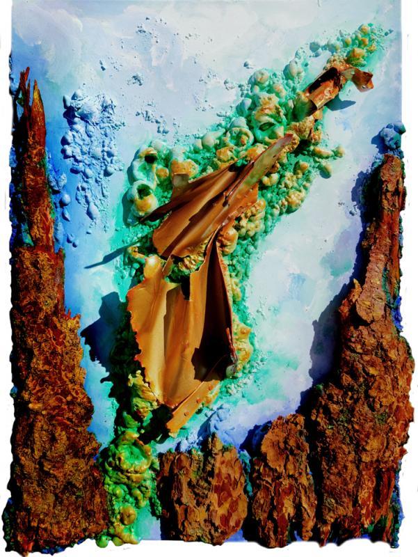 LACK FORREST MORPHING II, Mixed Material Art mit Rindenstücken und Aluminium auf Leinwand, Format: 50 x 70 cm, 2020