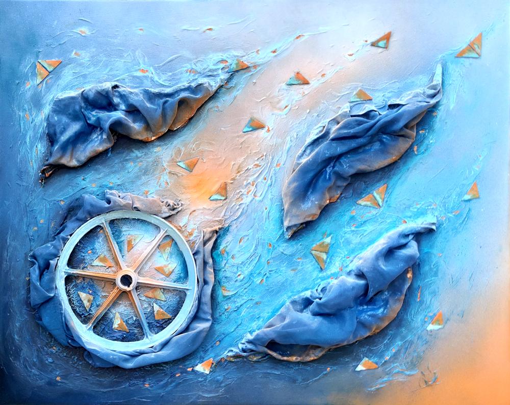 DEEP SKY, Mixed Material Art, 80 x 100 x 15 cm, 2020