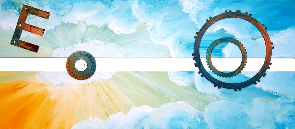 """""""Hoffnung"""", Acryl-Mischtechnik auf Leinwand mit Schrott-Elementen, Format: 70 x 150 cm, 2017"""