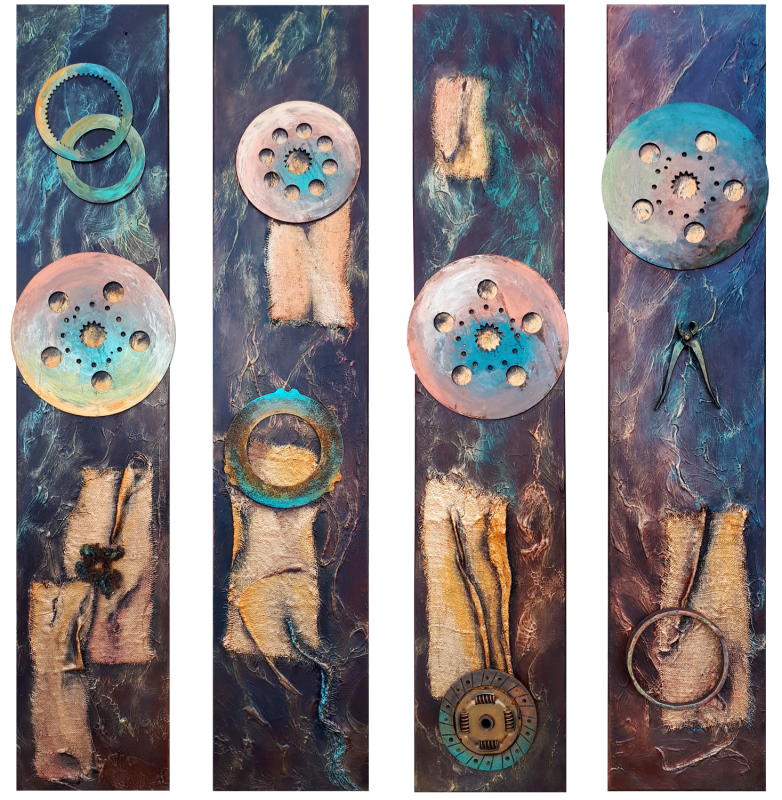 Iron movement IIAcryl-Mischtechnik mit Metall auf LeinwandFormat: 4 x 30 x 150 cm, 2018