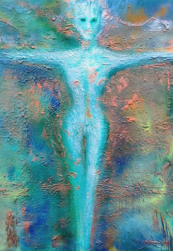 Lichtgestalt, Mixed Material Art auf Maltuch, Format: 105 x 150 cm, 2021
