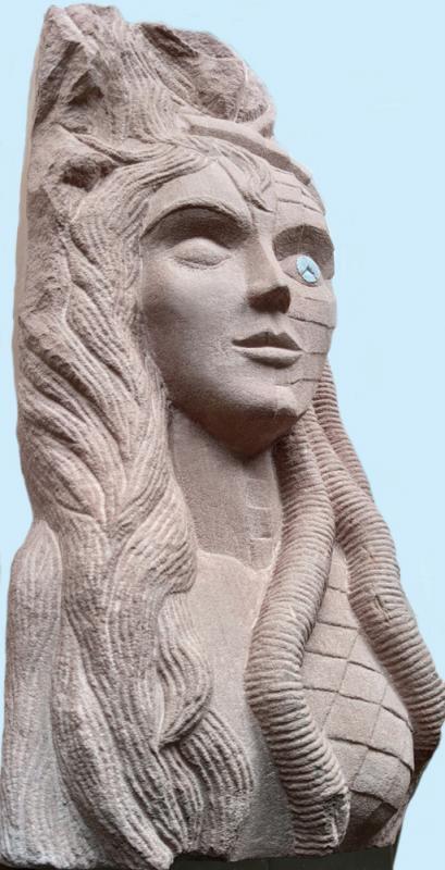 HOMMAGE AN METROPOLIS (Stummfilm Fritz Lang 1927), Skulptur in Sandstein, Höhe ca. 80 cm