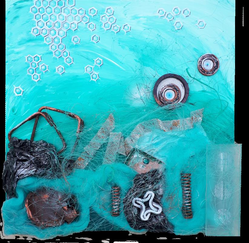 Pollution III, 50 x 50 cm, Acryl mit Plastikmüll, 2019