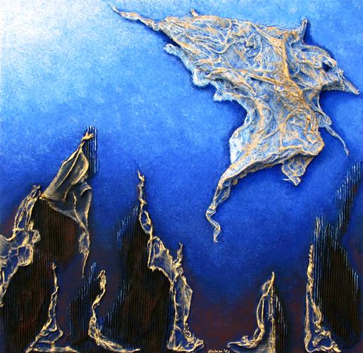 Tiefsee, Acryl auf Leinwand mit 3-D Elementen, 100 x 100 cm. 2015