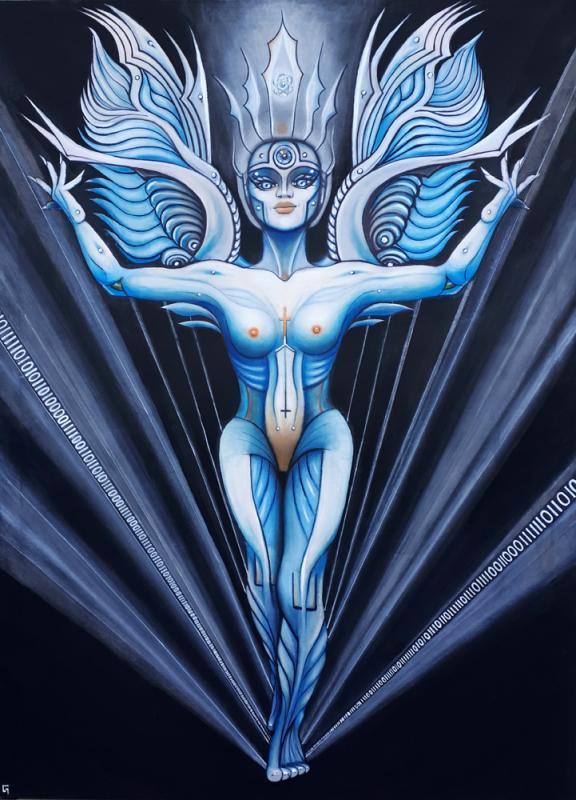 Titan-Engel, 150 x 120 cm, Mixed Material Art, Pastellkreide mit Acryl,