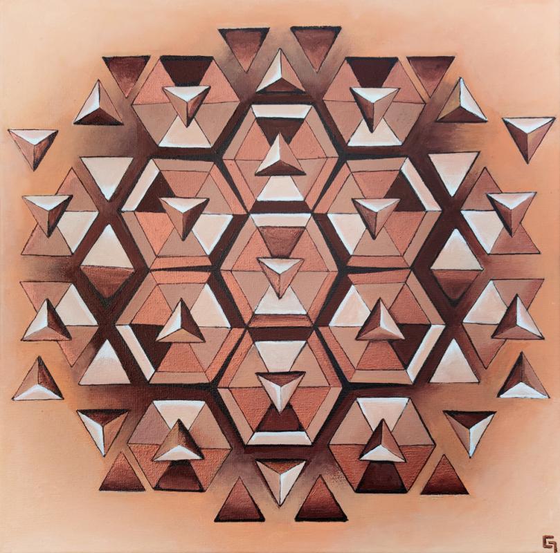 Waben-Mandala, Acryl auf Leinwwand, 50 x 50 cm, 2021