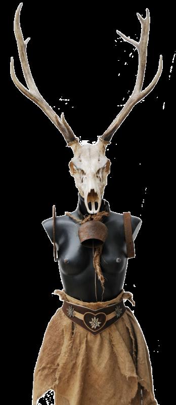 Walhalla, Skulptur ca. 250 cm, Mischtecjnik mit Gewih, 2017