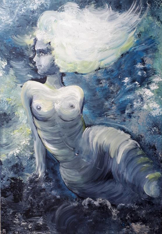 Wolkenmaid, Acryl-Schwammtechnik, 70 x 100 cm, 2018