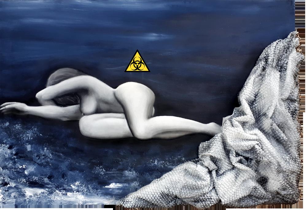 Ausgeliefert, Miced Maerial Art, Acryl und Pastellkreide mit Noppenfolie, 80 x 120 cm, 2018