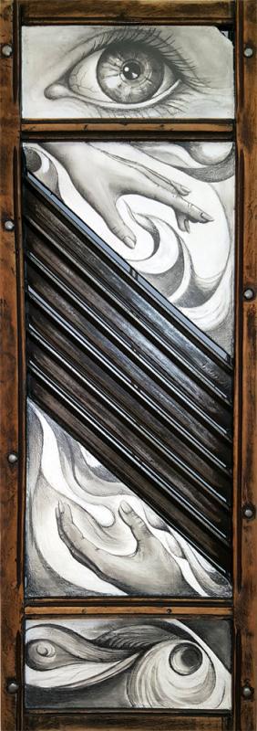 """""""Gefälle""""  Acryl und Bleistift auf antikem Krauthobel, lasiert  Format: 100 x 34 cm, aus der Serie Art-Retrouvé, 2016"""