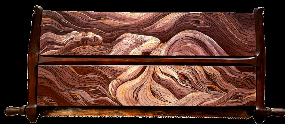 """""""In den Wäldern"""", Historische Säge mit Leinwänden, Acryl-Mischtechnik, Format: 100 x 45 cm, 2017"""