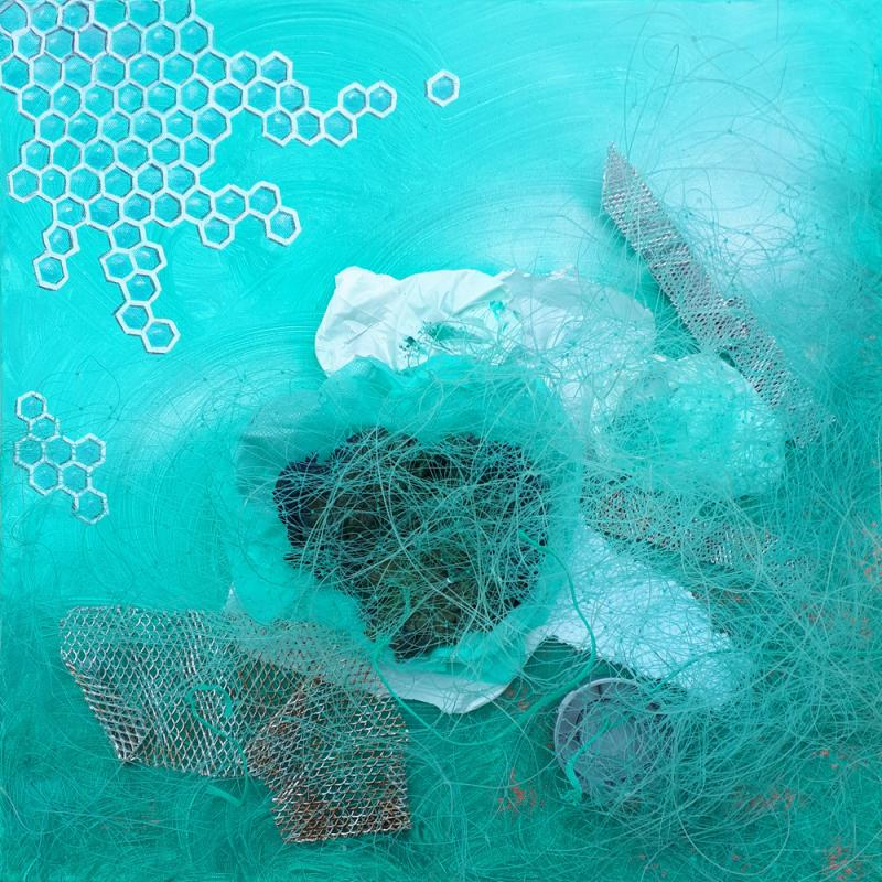 Pollution I, 50 x 50 cm, Acryl mit Plastikmüll, 2019