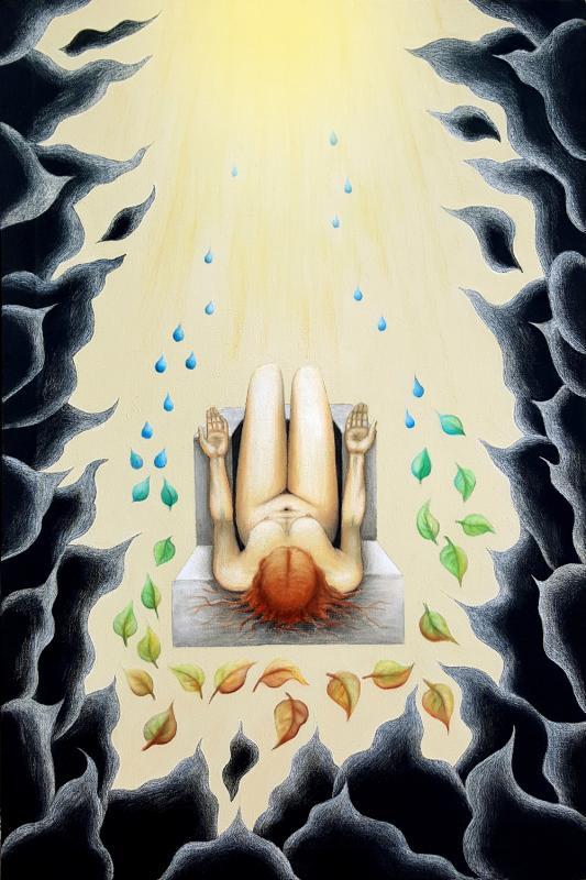 Sonnenaufganhg, Pastellkreide-Mischtechnik auf Leinwand, 80 x 120 cm, 2017