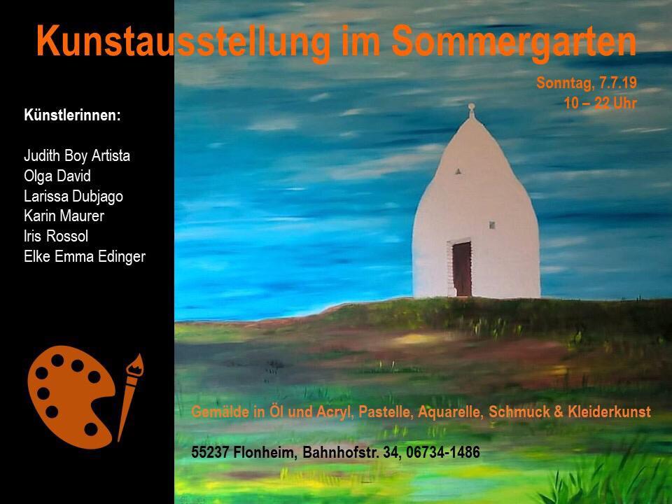 Kunst-Ausstellung im Sommergarten am 7.7.2019, Bahnhofstraße 34, 55237