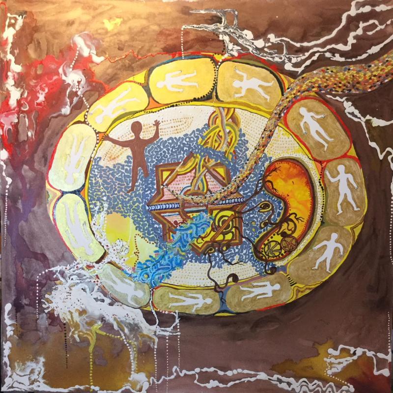 Die mythischen Schöpfungswesen beim träumen unter der erdkruste