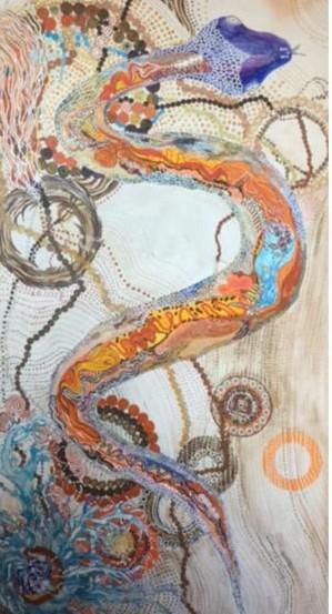 Die symbolische Regenbogenschlange erschafft die Natur und Gesetze