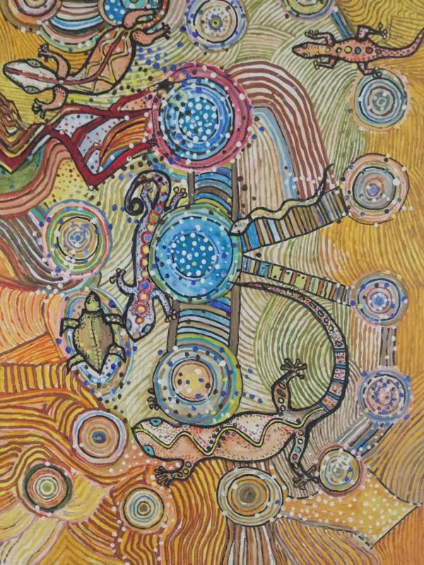 die regenbogenschlange erschuf täler und flüsse für das leben in der wüste
