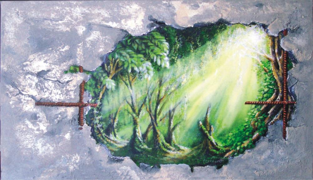 Acryl auf Leinwand teils gespachtelt  ca.: 100 x 60 cm