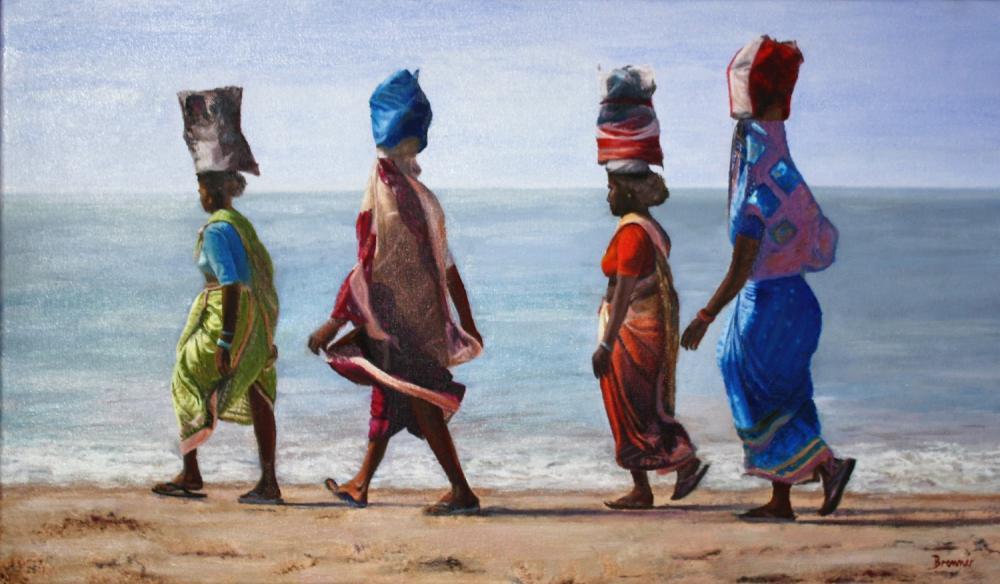 Indische Frauen am Meer, Öl auf Leinwand, 60 cm X 35 cm