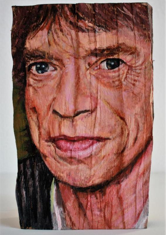 Mick Jagger, Acryl auf Holzscheit, ca. 15 cm X 25 cm X 10 cm