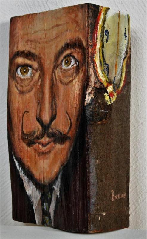 Salvador Dali, Acryl auf Holzscheit, ca. 15 cm X 25 cm X 10 cm