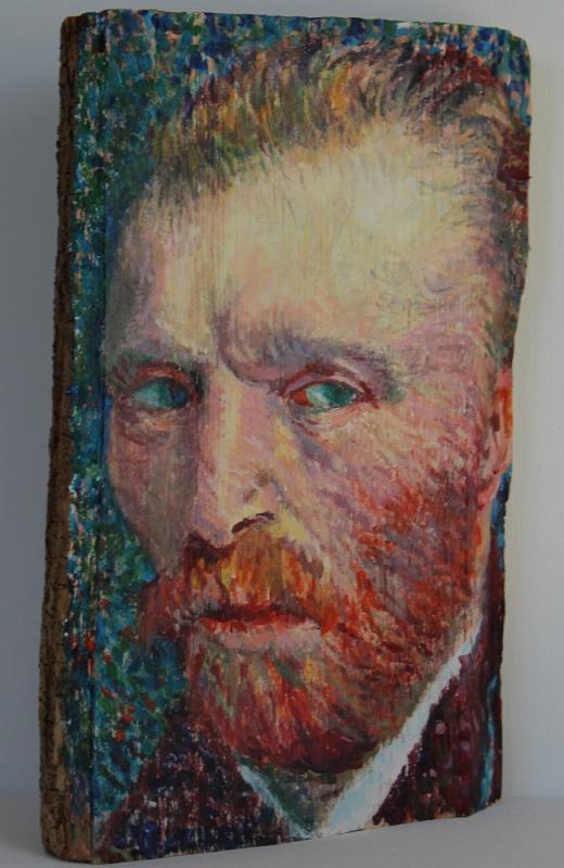 Vincent van Gogh, Acryl auf Holzscheit, ca. 15 X 25 X 10 cm