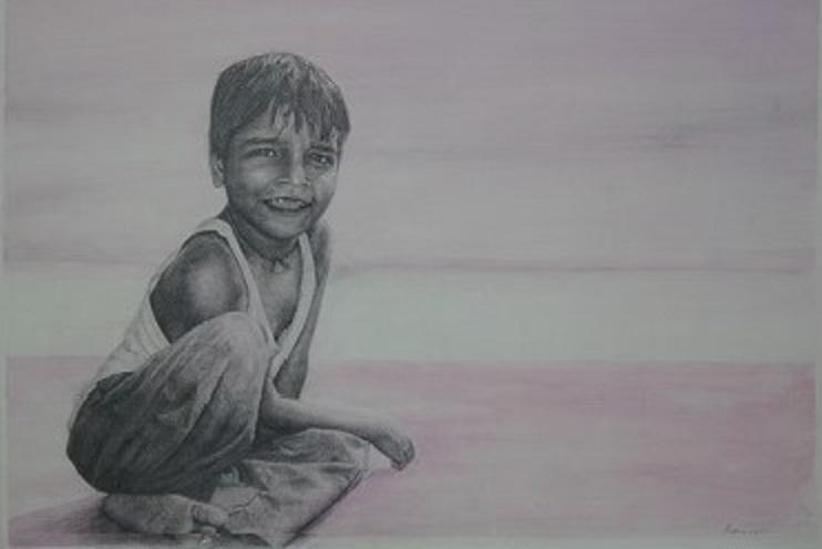 Junge am Ganges, Bleistift und Aquarell auf Papier, 68 cm x 48 cm