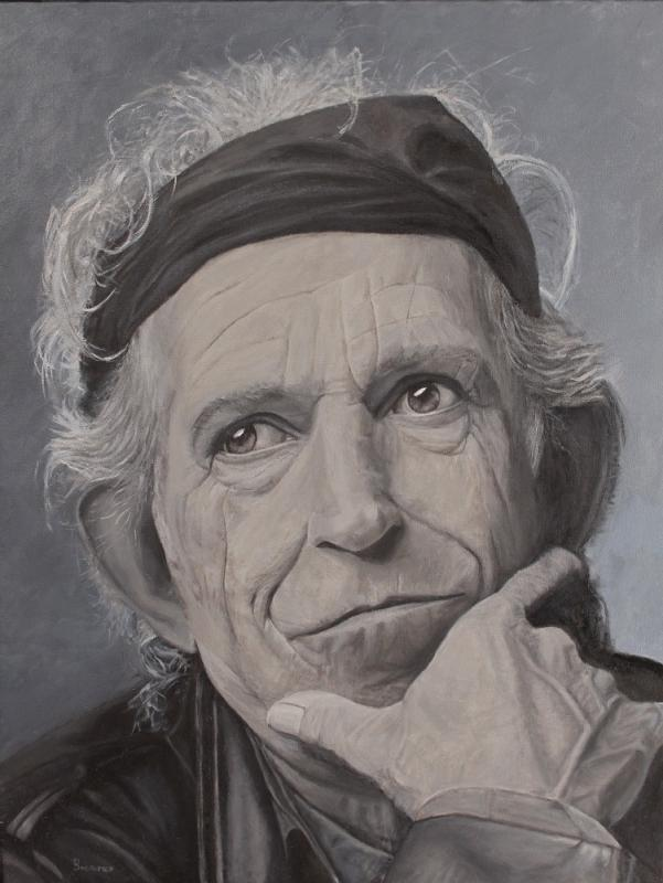 Keith Richards, Öl auf Leinwand, 70 cm X 90 cm