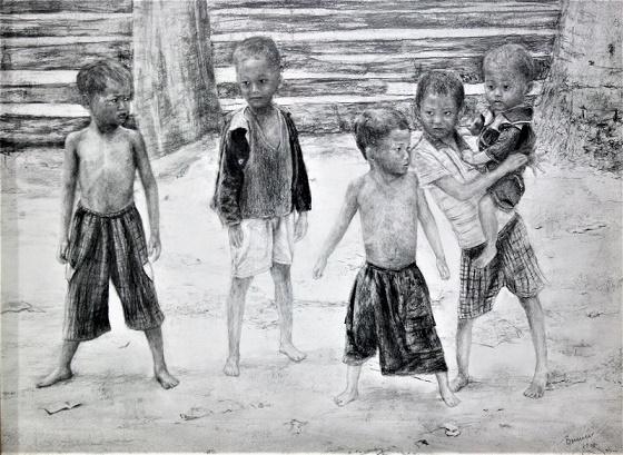 Kinder in Vietnam, Bleistift auf Papier, 65 cm x 50 cm