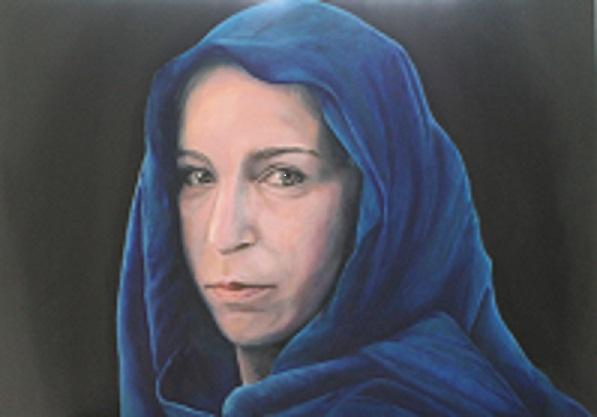 Frau mit blauem Tuch, Öl auf Holz, 70 cm X 50 cm