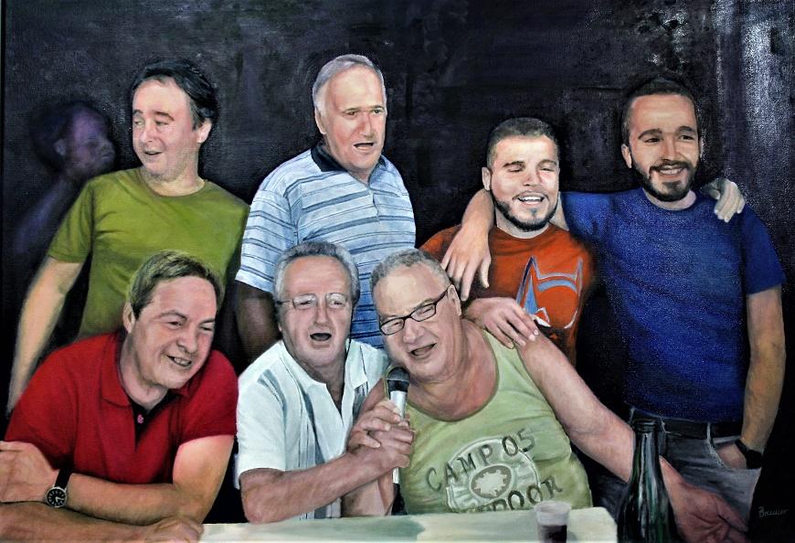 Dorffest in Matraia/Toskana, Öl auf Leinwand, 100 cm X 70 cm