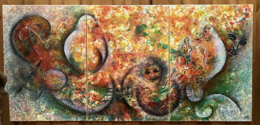 Die Geburt einer Idee (Triptychon, 210 x 100 cm)