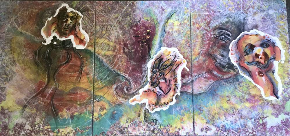 Begegnungen mit den neuen Ichs (Triptychon, 210 x 100 cm)