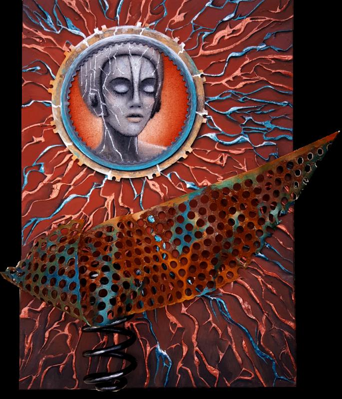 Elektra - Gemälde mit Schrott-Teilen und altem Sackleinen