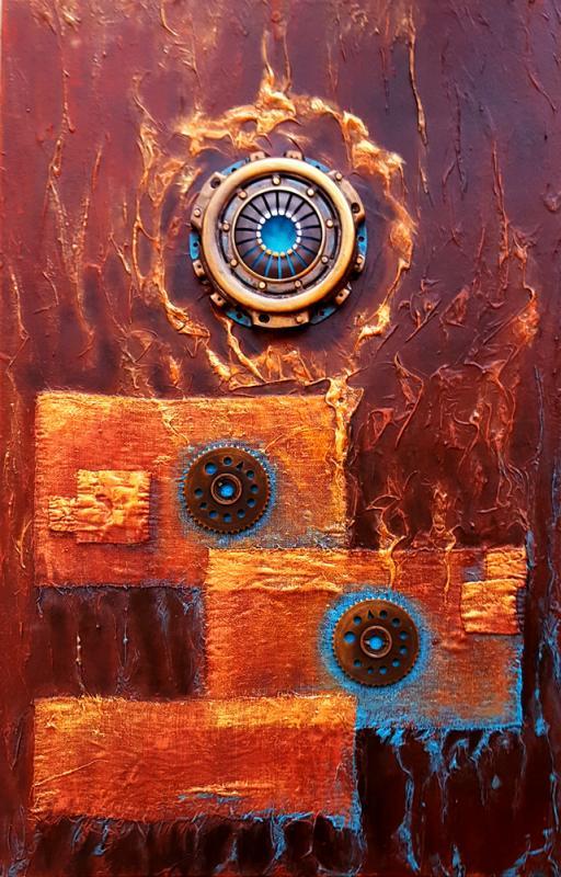 Getriebe - Gemälde mit Schrott-Teilen und Struktur